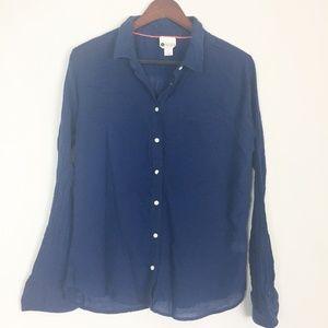 Stylus | Blue Long Sleeve Button Up Linen Like XL